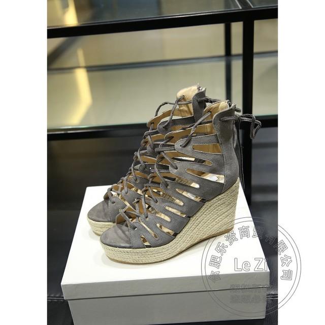 Zapato de tacón Estilo Roma Punta Abierta de Verano de Bohemia de Encaje Hasta diseñador de Zapatos de Las Mujeres de Las Mujeres Juego de Cuero Nobuck Zapatos de Cuña Mujer hurón