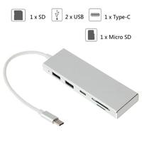ANENG 5in1 Type C Naar USB 3.0 Hub Combo SD/TF Kaartlezer Voor MacBook Pro Chromebook HP