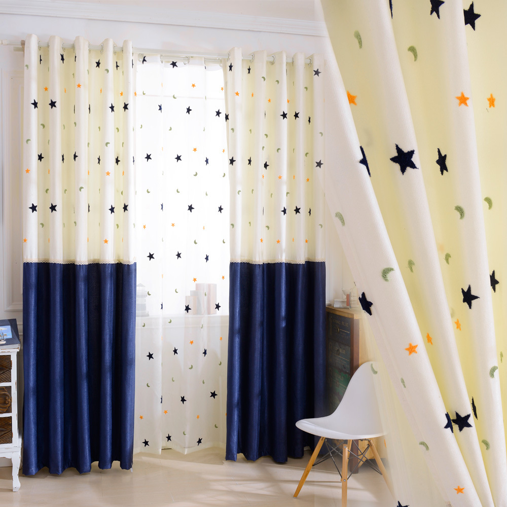 Boy Cotton-linen Curtain For Living Room Curtain Hall Shade Curtains Blue Curtains For Bedroom Stars Moon Curtains