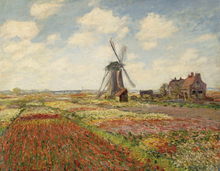 Wall Art Gift Claude Monet Painting Campo Di Tulipani in Olanda Photo Printed Canvas Oil Painting For Living Room Painting claude monet impressionist the windmill on the onbekende canal amsterdam photo printed canvas oil painting home wall art gift