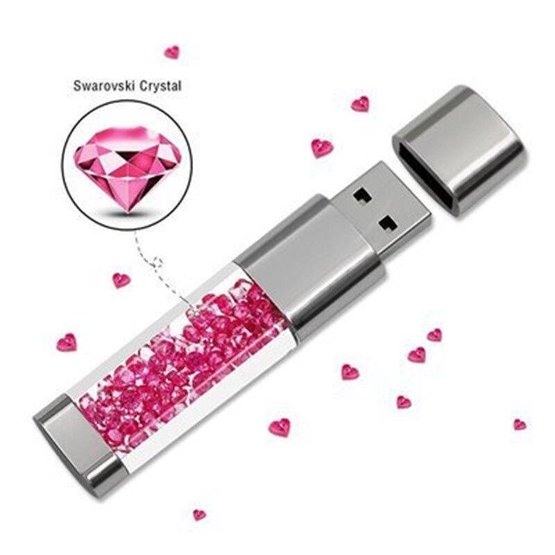 Fashion Real Capacity Usb Flash font b Drive b font 32GB 64GB Crystal Pen font b