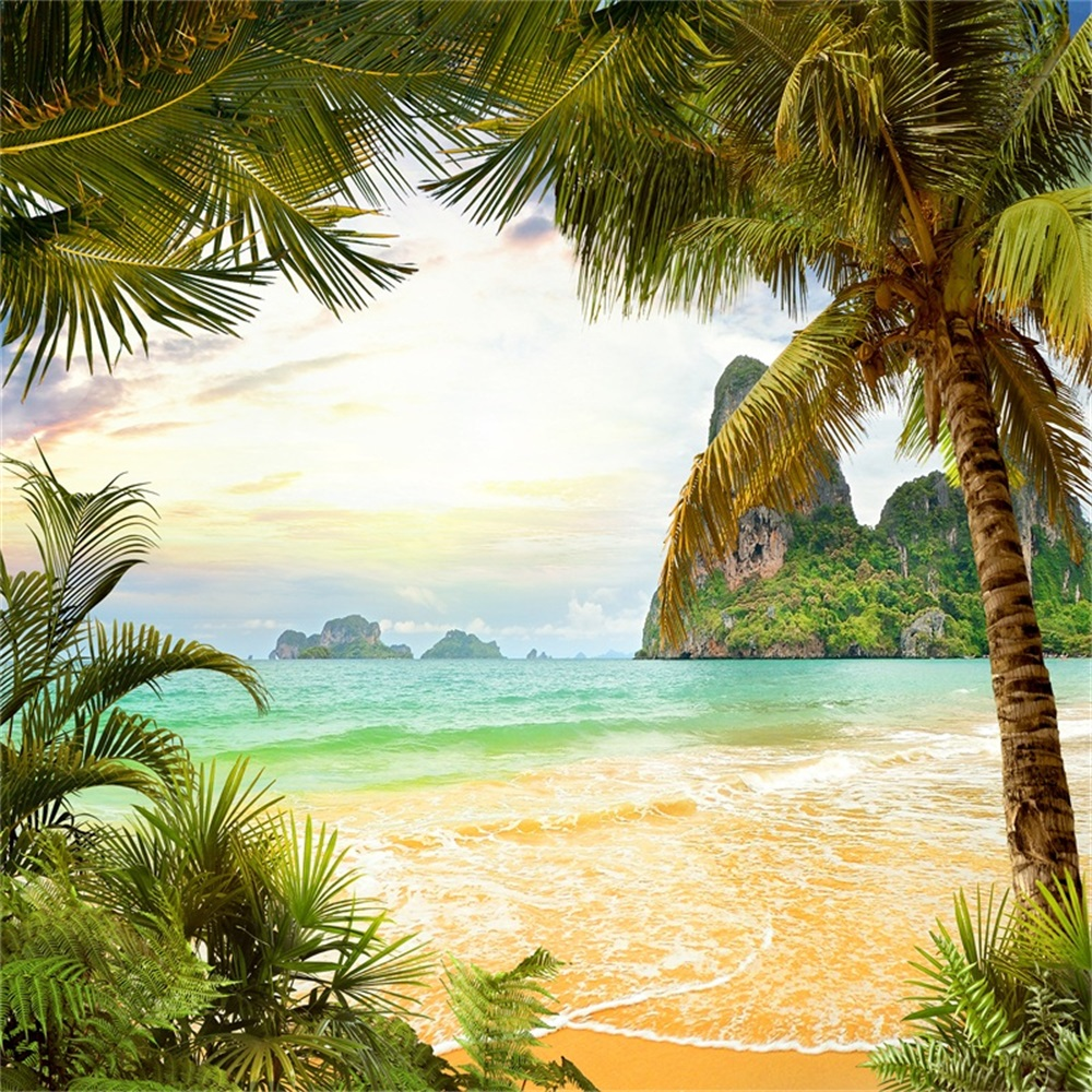 Laeacco Summer Tropical Seaside Beach Palm Tree Scenic Photography Backgrounds Customize Photographic Backdrops For Photo Studio