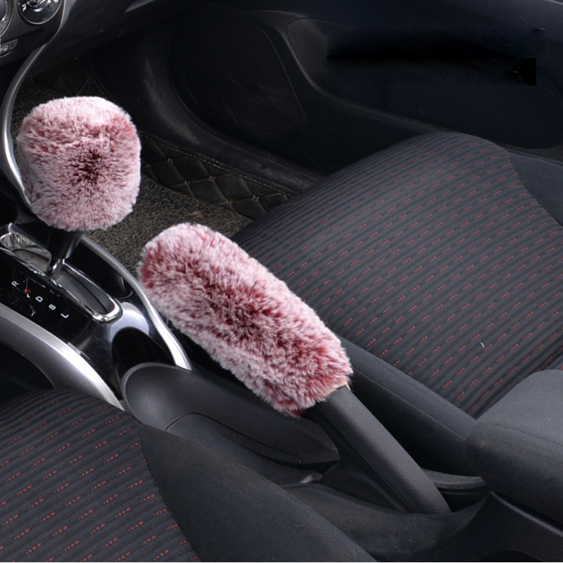 1 Set Winter Plush Car Gear+Handbrake Covers Downy Winter Cute Animal Fur Warm Steering Cover Case Car Accessories 7 Colors