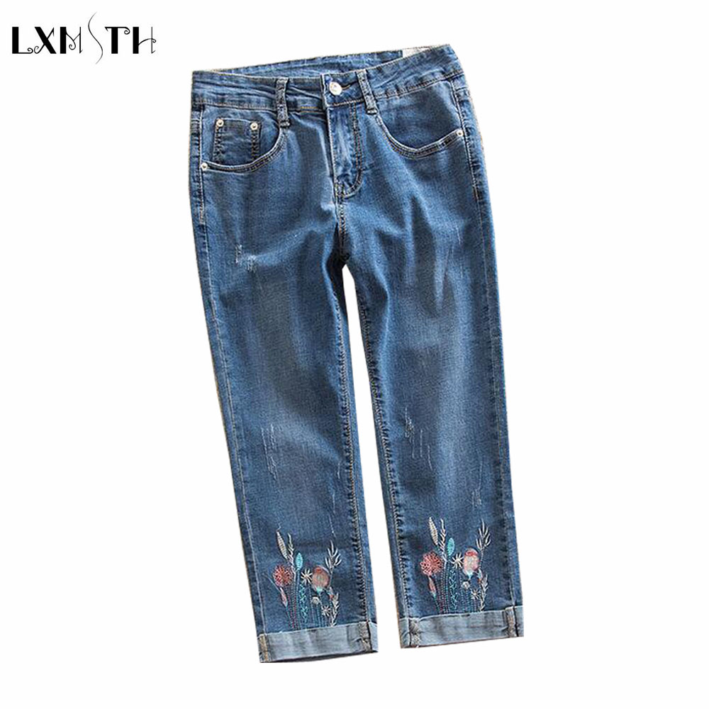 LXMSTH Summer Skinny Jeans Capris Women Stretch Slim Denim Pants Vintage Embroidery High Waist Women's Jeans Plus Size 7XL 8XL flower embroidery jeans female blue casual pants capris 2017 summer pockets straight pencil jeans women bottom 3329