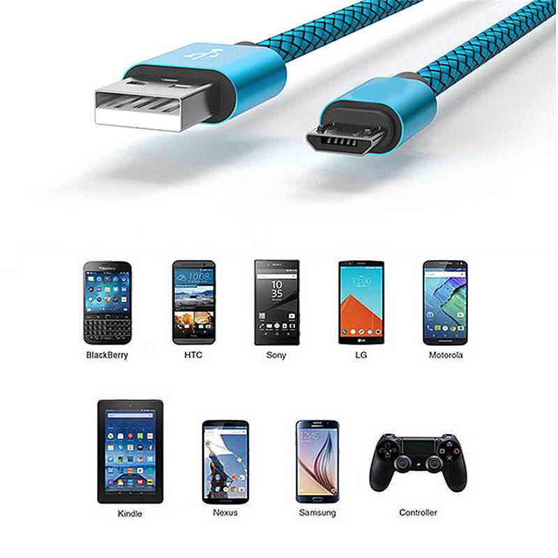 كابل مايكرو USB سريع البيانات مضفر النايلون حبل شحن كابل لسامسونج هواوي شاومي LG Andriod مايكرو كابلات الهاتف المحمول