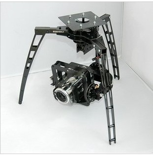 Three-axis Synchronous Belt Drive Glass Fiber Pan/Tilt Camera Mount PTZ + 3 GS-9257MG Servo