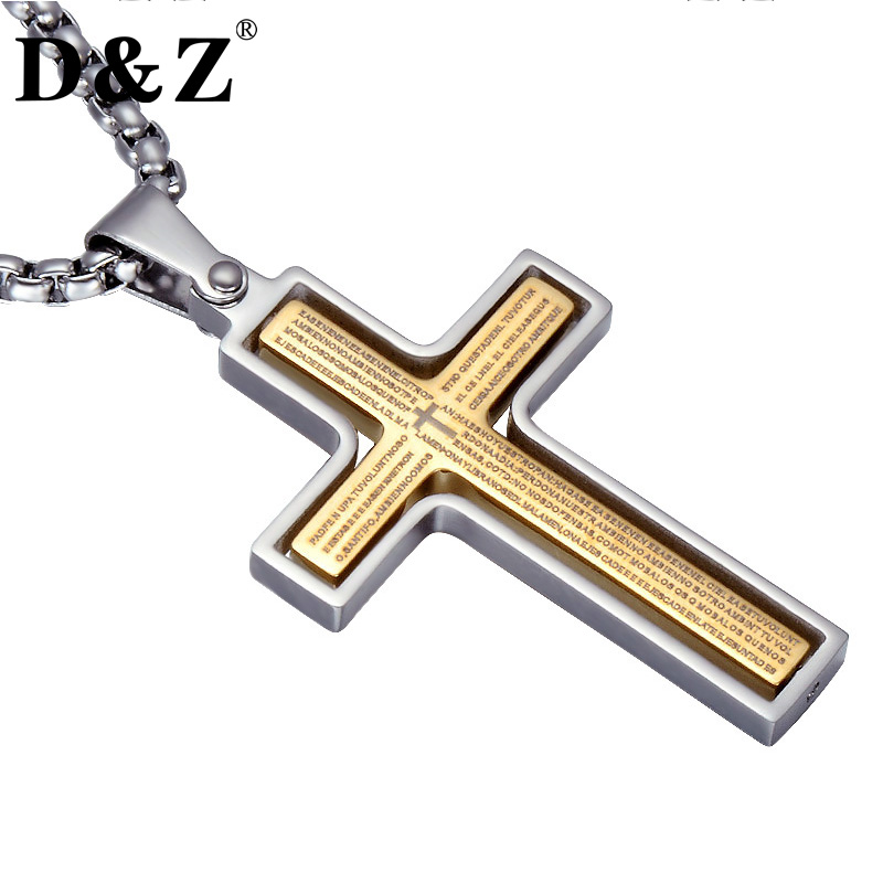 лучшая цена D&Z Religion Bible Cross Pendant Necklace Gold Color Stainless Steel Rotatable Crucifix Necklaces for Christian Jewelry