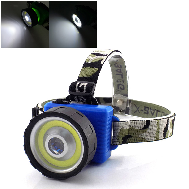 COB LED Headlamp fishing flashlight Powerful dual lights led headlight AA battery lanterna camping cycling Head Flash Lamp Light 30w led cob usb rechargeable 18650 cob led headlamp headlight fishing torch flashlight