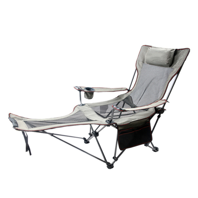 Fishing Lay Down Chair Portable Folding Beach Chairs Pocket Bottle Seat Camping 150kg Movable Breathable Net