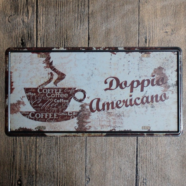 15 30cm Vintage Coffee House Decor Tin Signs Metal License Plate Antique Painting