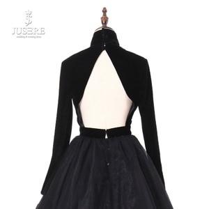Image 5 - Jusere 리얼 포토 하이 넥 백 오픈 블랙 댄스 파티 드레스 실크 벨벳 테일 로브 드 soiree 2019 라인 이브닝 드레스