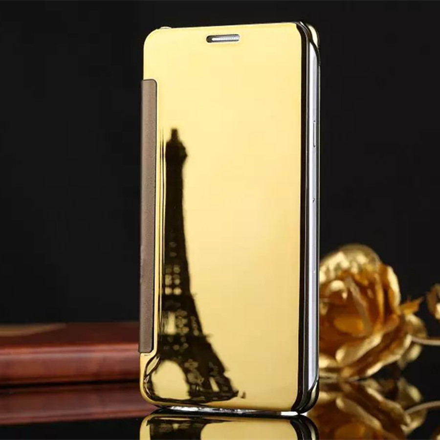 Luxury Gold Plating Mirror <font><b>Flip</b></font> <font><b>Case</b></font> For <font><b>Samsung</b></font> <font><b>Galaxy</b></font> A3 A5 A7 2016 J3 J7 J5 J7 2017 <font><b>A8</b></font> <font><b>2018</b></font> Chrome Cover Capa Funda image