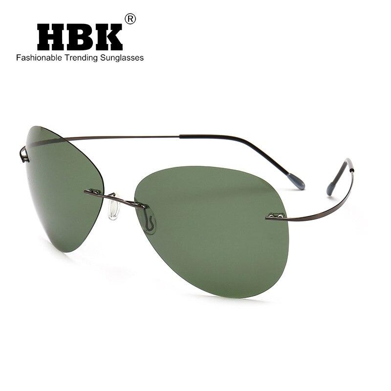 HBK 2019 Ultralight Pilot Titanium Polarized Sunglasses Rimless Driving Sun Shades Oculos De Sol UV400 PM0074
