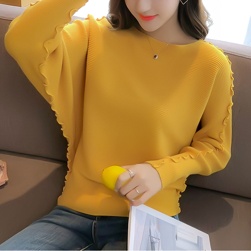 Women Knitted Pullover Tops Fashion Batwing Sleeve Ladies Autumn O-Neck Jumper Solid Casual Korea Pullovers And Sweaters Female