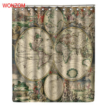 WONZOM Polyester Fabric Map Curtains with 12 Hooks For Bathroom Decor Modern Bath Waterproof Curtain New Accessories