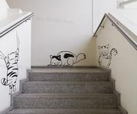 Drei Kitty Katzen Wandaufkleber Set Haus Verzieren Wohnzimmer abnehmbare Vinyl Nette Katze Wandtattoos Schlafzimmer Kunst Wandtattoo S433