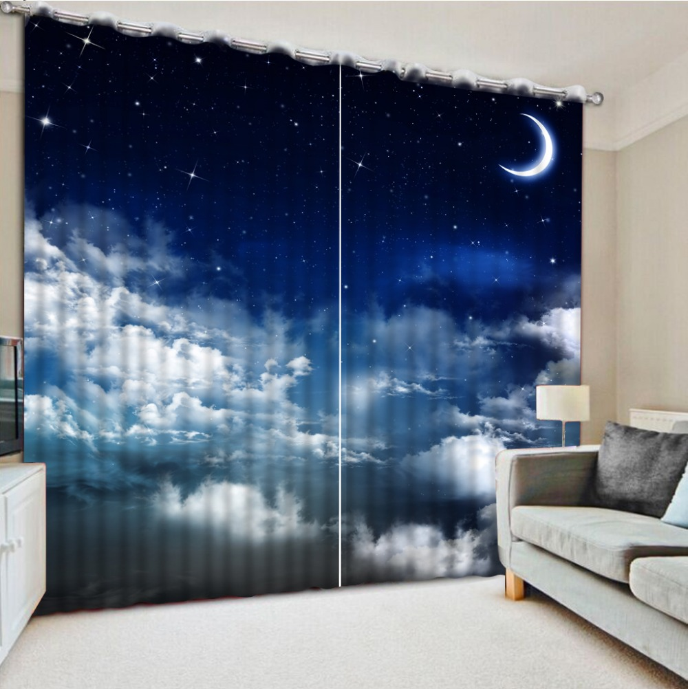 Curtains For Window Living Room Blue Sky Moonlight 3d Curtains Beautiful  Window Curtains Home Bedroom Decoration
