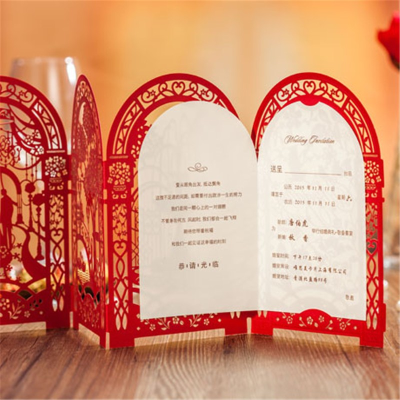 Wedding decoration supplies romantic wedding party invitation card wedding decoration supplies romantic wedding party invitation card red delicate carved pattern with envelope blank sheet in cards invitations from home junglespirit Gallery