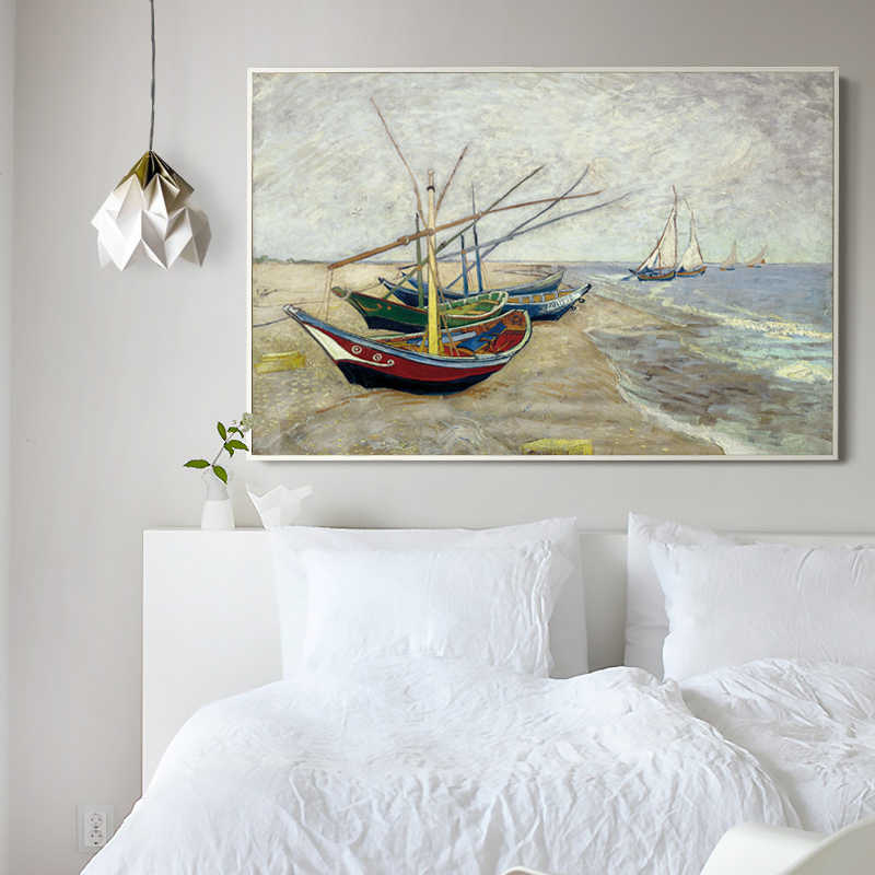 Elegant Poetry Sailboat by Vincent Van Gogh Famous Artist Impressionism Art Print Poster Wall Picture Canvas Oil Painting Wall