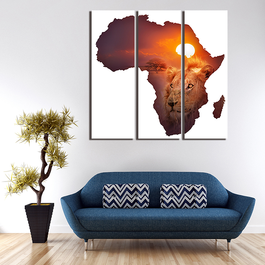 Unframed 3 Panel The African lion Wall Art Picture Modern Painting ...