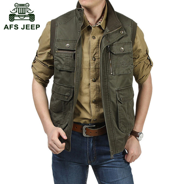 AFS JEEP European military casual brand men's spring 100% pure cotton reporter vests army coats shoot army camp khaki vest coat