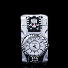 Skull modeling Lighter Clock Watch Quartz Lighter Gas Compact Butane Jet Torch Cigarette Cigar Straight Fire Lighter Men Gift