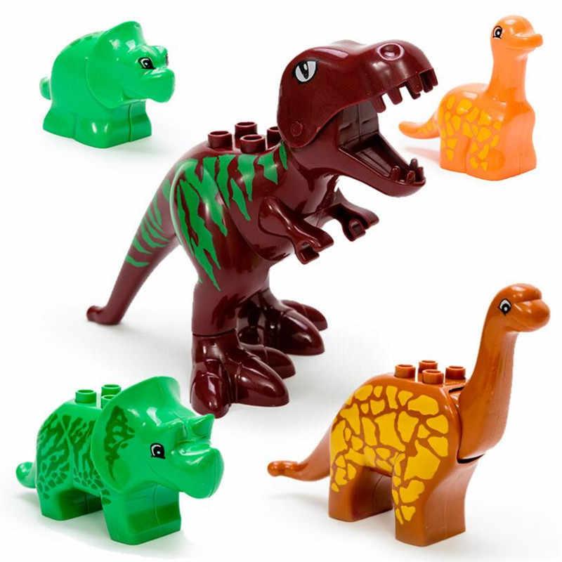 40 шт./лот мир Юрского периода крупные частицы животных модель игрушки Дино Valley строительные блоки кирпичи наборы кирпич Duploe без коробки