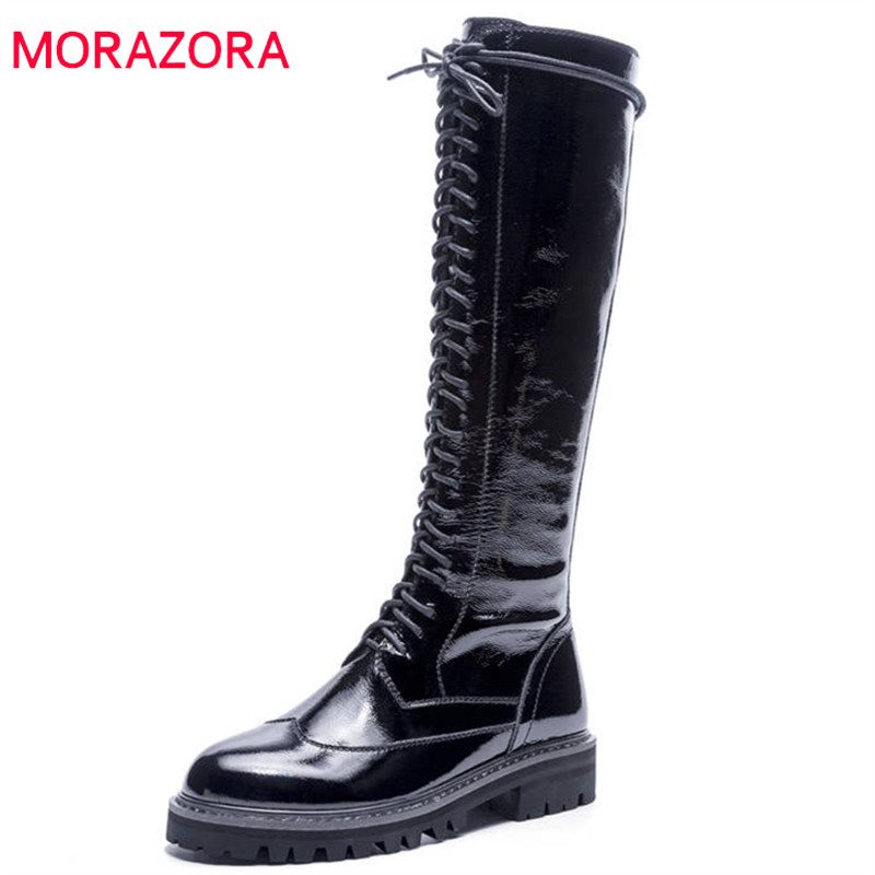 MORAZORA 2018 top quality genuine leather knee high boots women zipper +lace up autumn winter boots comfortable med heels shoes стоимость