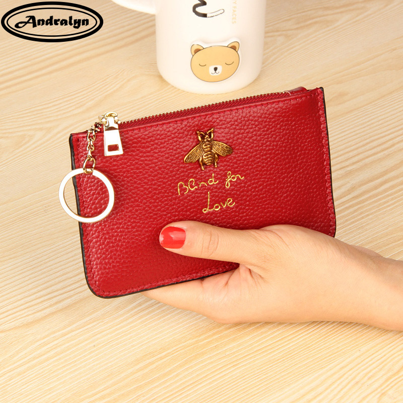Andralyn Genuine Leather Coin Purse Children's Pocket Wallets Key Holder Mini Zipper Pouch Women Small Wallet Change Purses купить