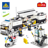 KAZI Toys Police Station Building Blocks Compatible Legos City DIY Construction Bricks Educational Enlighten Toy Gift