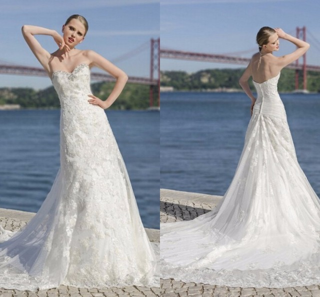 Elegant White or Ivory Champagne or Red Sweetheart Lace Backless ...