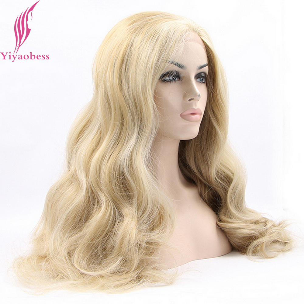 Yiyaobess Glueless основные светлые Синтетические волосы на кружеве парик синтетические афроамериканца длинные волнистые Искусственные парики дл...