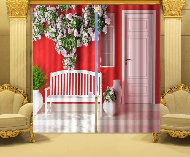 Photo Print Stereoscopic 3d Curtains 3 D Printing Digital Curtain Walls And Wooden Door 100