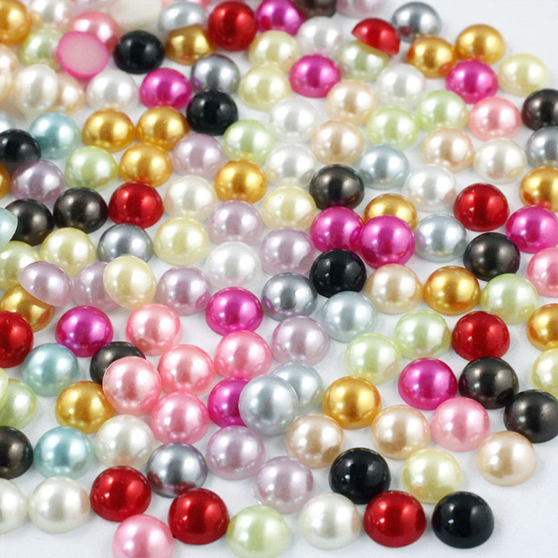 WHITE CRAFTS 3mm HALF ROUND RESIN IMITATION *PEARL BEADS* FOR NAIL ART