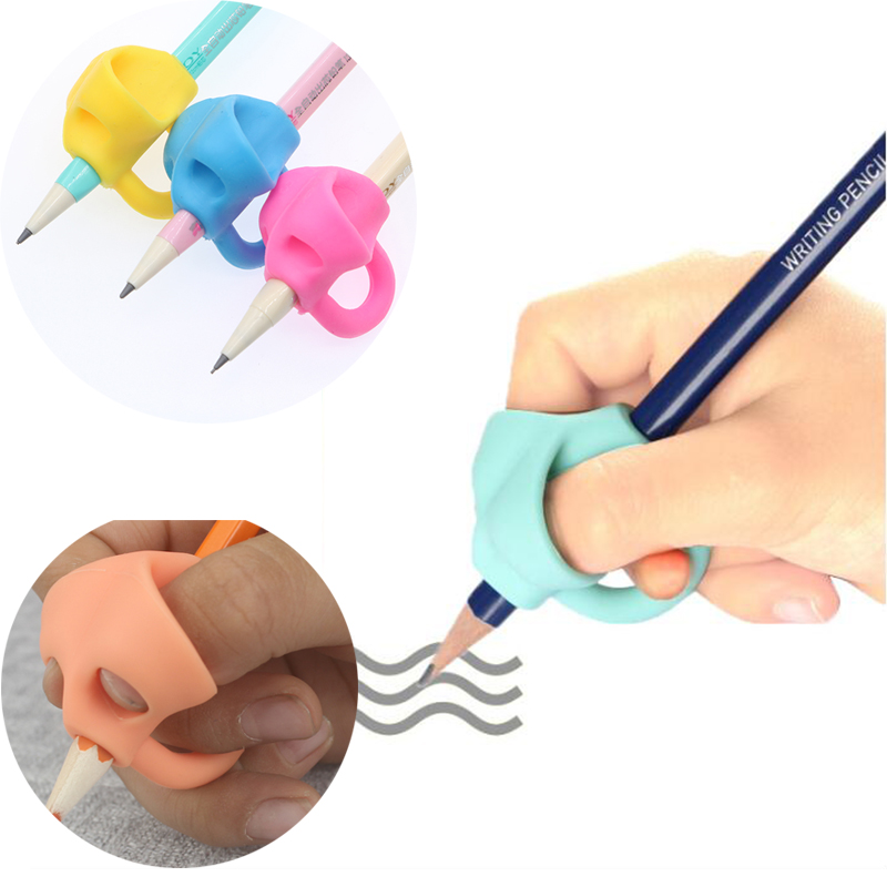 3 Sets Of Writing Kindergarten Children Beginners Corrective Grip Silicone Pen Writing Help Fixture Correct Finger Position