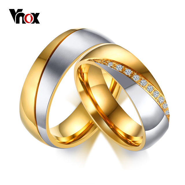vnox temperament wedding rings for women men cz stones stainless steel engagement band anniversary valentines day - Stainless Steel Wedding Rings