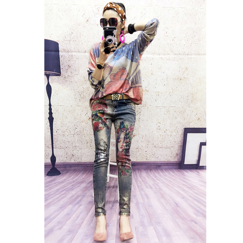 Elastic Cotton Material Leopard Patchwork Painting Beauty Lady Flower Printed Europe Station Jeans