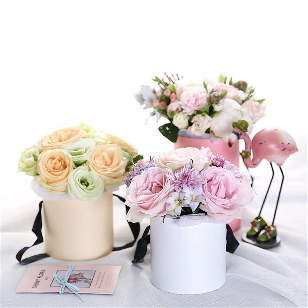 Chic Paper Flower Arrangement Box With Lid Bucket Florist