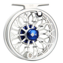 3/4 5/6 7/8WT Fly Reel CNC Machined 6061 Aluminum Full Metal Reel Large Arbor Silver/Blue Color Fly Fishing Reel
