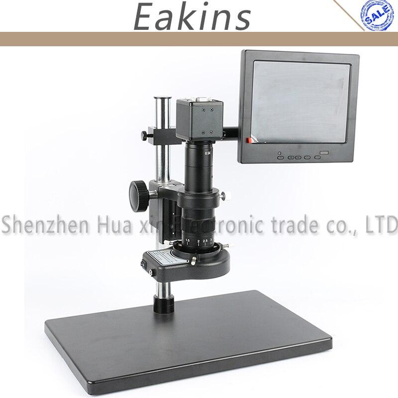 2.0MP CMOS VGA Numérique Vidéo Microscope Caméra + 144 LED Light Ring + support à + 180X/300X C monture + 8 LCD pour PCB/Laboratoire de réparation