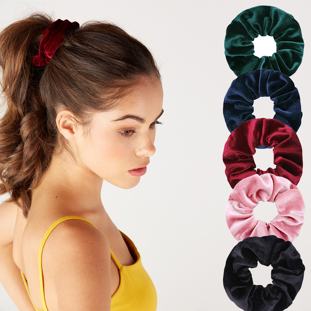 Women Solid Velvet Scrunchies Elastic Hair Bands for Girls Soft   Headwear   Tie Ponytail Holder Hair Accessories 2019 Spring VERVAE