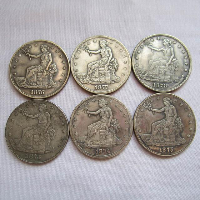 1873 1878 S 6pcs Usa Trade Dollar Coins Copy