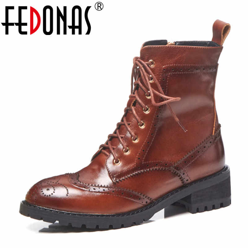 FEDONAS חדש סתיו חורף נשים תחרה עד קרסול מגפי צד רוכסן אמיתי עור קצר רכיבה מגפי פאנק מסיבת נעליים יומיומיות אישה