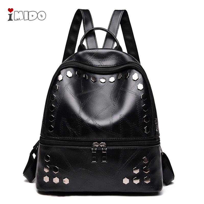 475802dc20b 2019 Women's Black Leather Rivets Backpack Female New Fashion Punk Rock  Style School Bag for Girls Soft PU Small Travel Rucksack