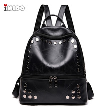 2019 Womens Black Leather Rivets Backpack Female New Fashion Punk Rock Style School Bag for Girls Soft PU Small Travel Rucksack