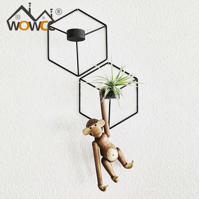 WOWCC Nordic подсвечник 3D геометрический металлический подсвечник Канделябр бра Сталь свечи Свадебные украшения дома