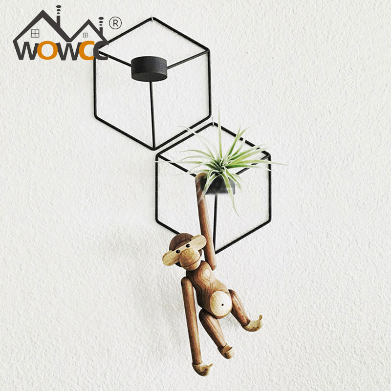 WOWCC Nordic Style 3D Geometric Candlestick Metal Wall Candle Holder Sconce Matching Small Tealight Home Ornaments