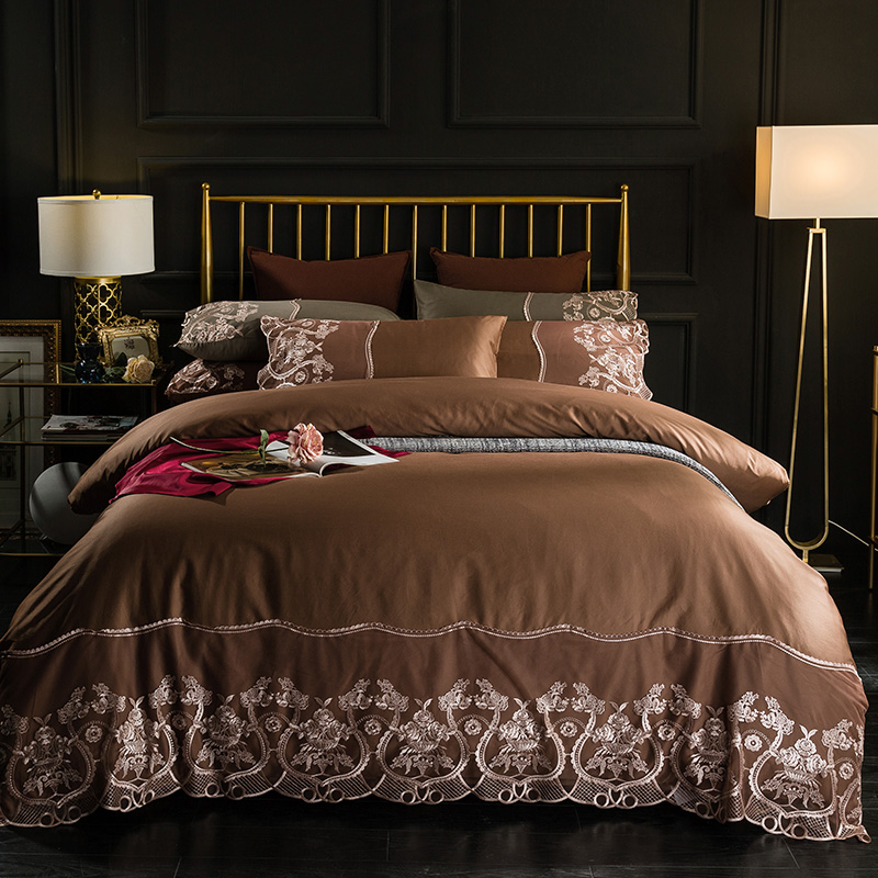 Brown Grey Red Luxury Egyptian Cotton Lace Bedding Set Queen King Size Silky Bed Linen Sheets Duvet Cover Pillowcase