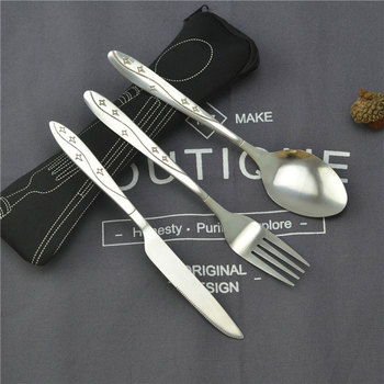 Cooking Reusable Travel Utensils with Case Fork Spoon Set with Knives Office Camping Accessories YU-Home