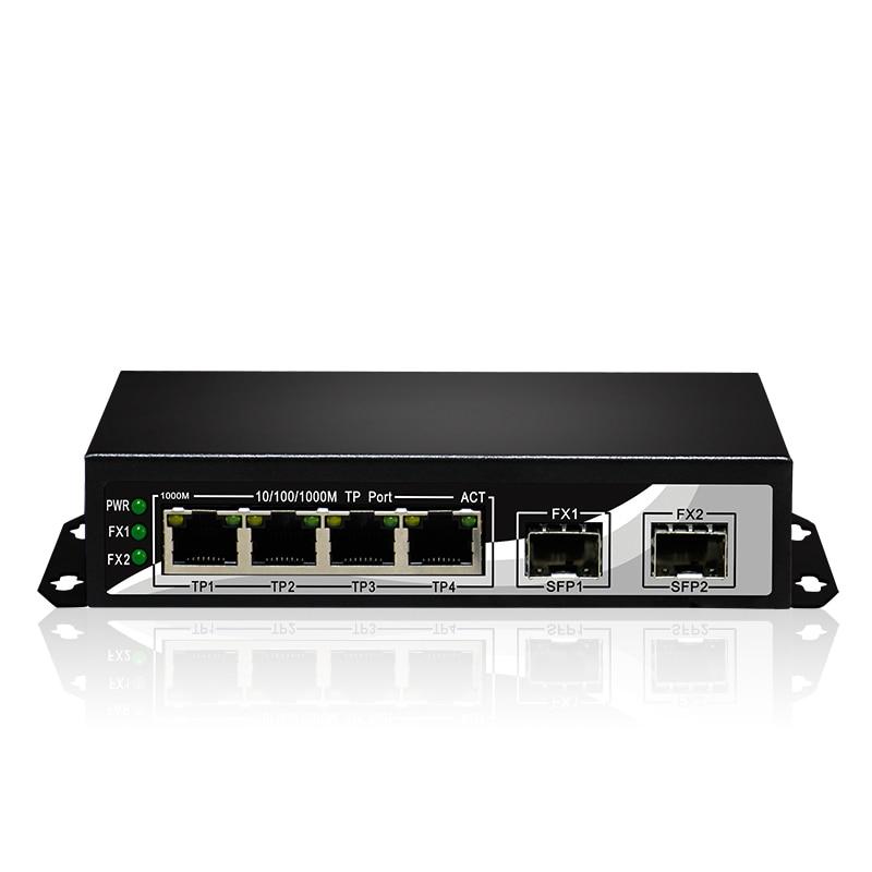 2 SFP Fibre Optical Port 4 RJ45 TP Ports 6 Ports 10/100/1000Mbps SC Gigabit Switch FTTH GPON Terminal
